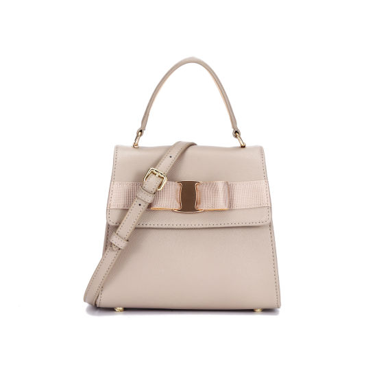 New Design Apricot Leather Women Hand Bag with Shoulder Strap