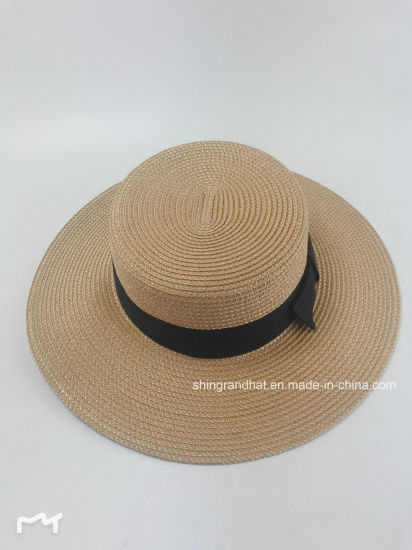 Paper Straw with Golden Rulex Boater Hat