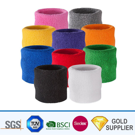 Manufacturer Cheap Custom Various Colors Charm Elastic Sublimation or Womens Running Sports Sweat Cotton Fabric Bracelet Wristband for Promotion