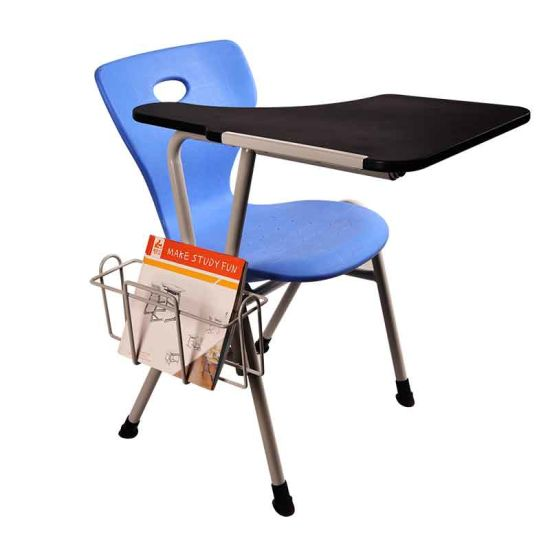 Plastic Seat and Steel Structure Classroom Chair with Armrest pictures & photos