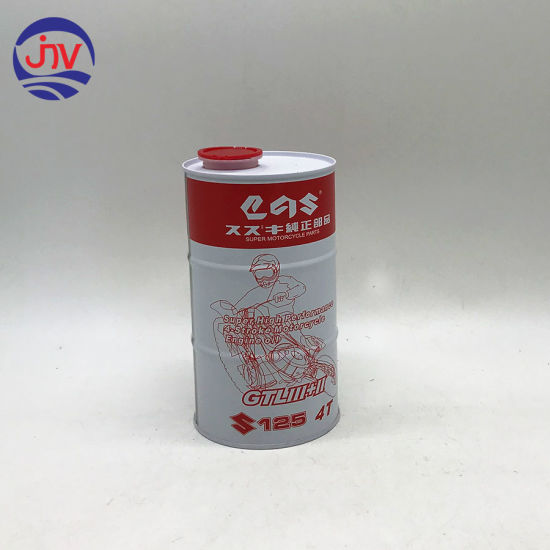 Engine Oil Tin Can 1 Liter Box with 42mm Flexible Spout Cap