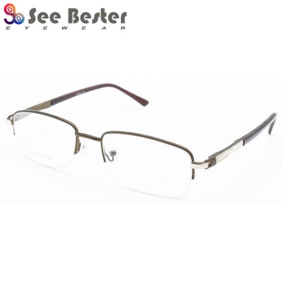 China Square Half Rim Optical Frames Men Stainless Steel Frame Metal ...