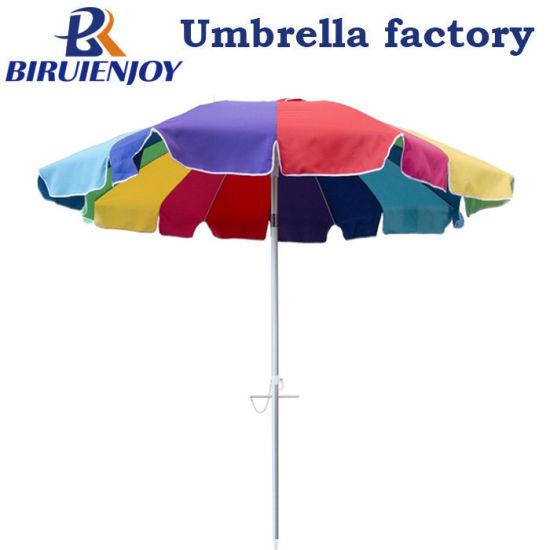 220cm Large Rainbow 16ribs Aluminum Beach Umbrella with Sand Anchor Drill Screw