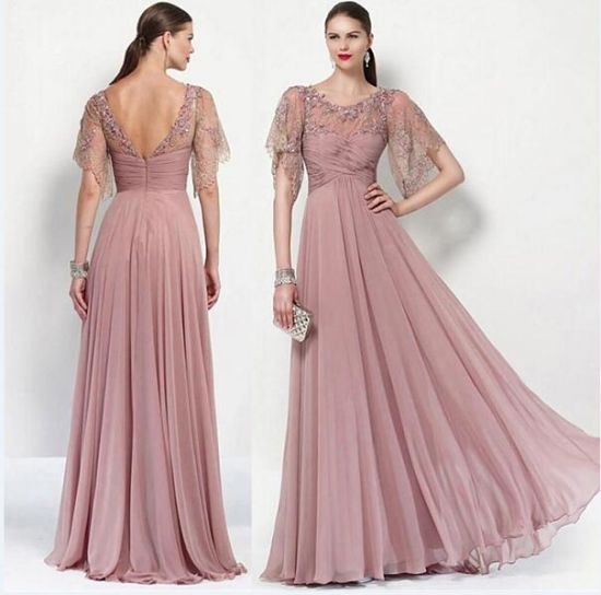 37a171de3a5 Chiffon Lace Mother of The Bride Dress Blush Beads Formal Prom Evening  Dresses B1411 pictures