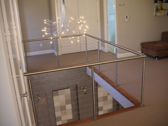 Interior Wire Cable Balustrade/ Cable Railing For Stairwell Design