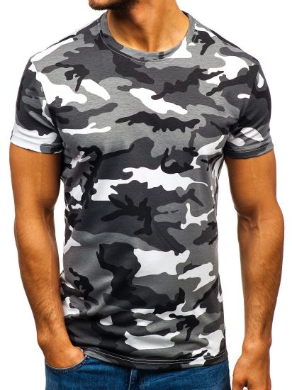 Men's Short-Sleeved Shirt Camouflage Round Neck T-Shirt Casual Clothes