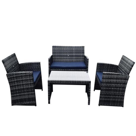 Outdoor Garden Patio 4PC Cushion Conversation Metal Rattan Sofa Furniture Set