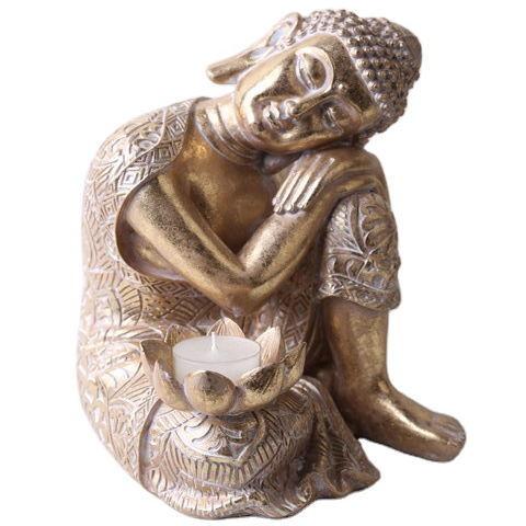 2020 Wholesale Tabletop Gold Peaceful Sleeping Buddhist Sitting Resin Thai Buddha Statue