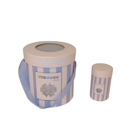 Custom Recycled Cosmetic Cardboard Tube Round Cylinder Box with PVC Clear Window