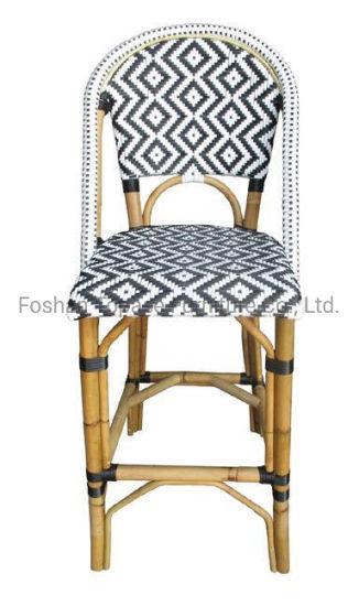 Outdoor Furniture Rustproof Paris Bistro Rattan Metal Bar Chairs