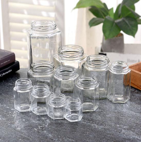Large Size Hexagonal Glass Jar Fitting Metal Cap