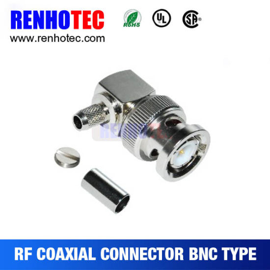Right Angle Crimp BNC Male Connector for Cable Rg58 Rg59