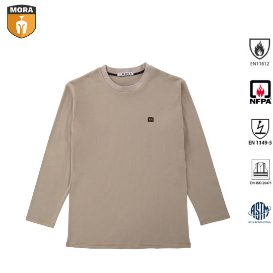 Fr Clothing Men's 100% Fr Cotton Safety Work Clothes Outdoor Comfortable Flame Resistant Henley Shirts with Round Collar