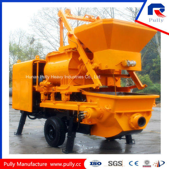 Pully Manufacture 800L Hopper Capacity for Village, Road, Bridge Tunnel Construction Trailer Concrete Pump with Mixer pictures & photos