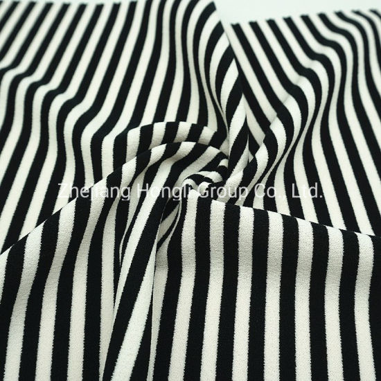 96%Polyester 4%Spandex Knitted Striped Fabric Breathable Soft Handle