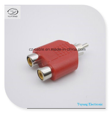 RCA/AV/Audio Adapter/Plug to 2xrca/2r Jacks for RCA/Audio/AV Cable (R to 2R, R-2R) pictures & photos