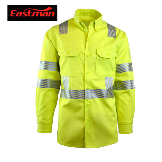 Road Safety High Vis Flame Resistant Cotton Shirt ANSI 107-2015 Compliant Type R Class 3