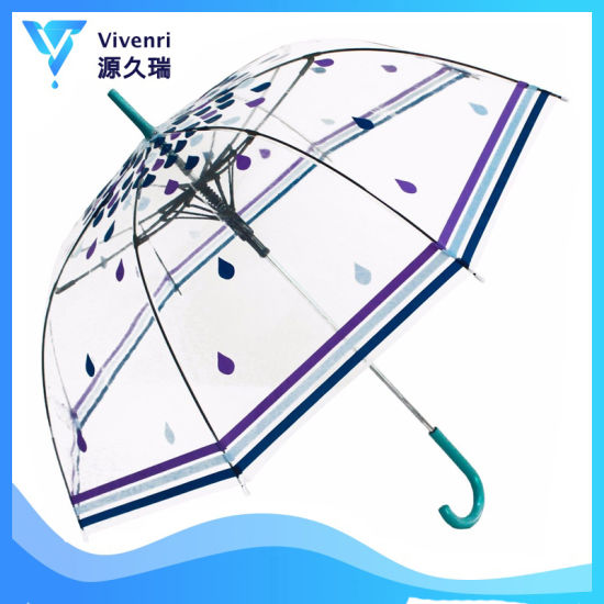 23''*8K Clear Poe Bubble Clear Dome Umbrella for Women and Kids