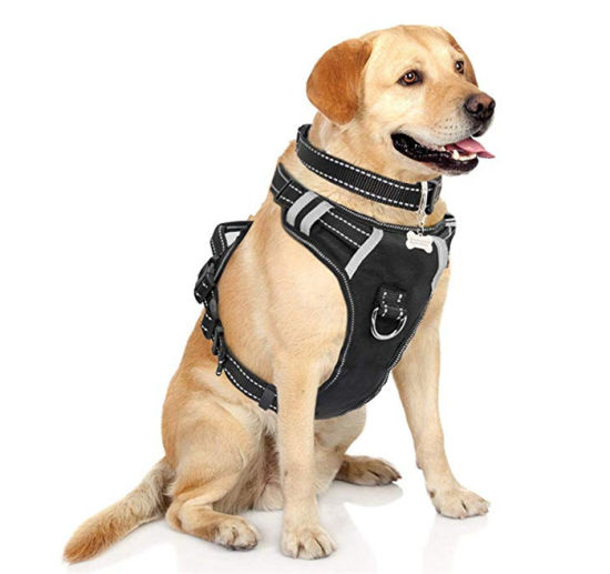 Reflective Adjustable Oxford Material Black No-Pull Walking Pet Vest Harness with Handle and Front/Back Leash Attachments