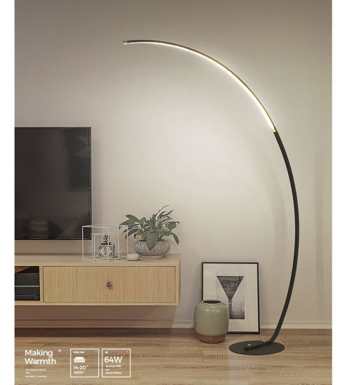 Modern Fishing Metal Base Arc Standing Floor Lamp for Living Room