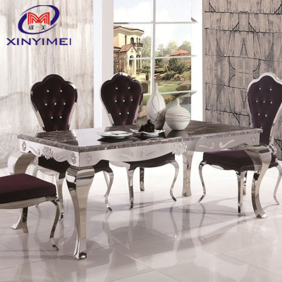 Hotel Furniture Silver 6 Seater Stainless Steel Marble Top Centre Dining Table China 6 Seater Stainless Steel Table Hotel Furniture Table Made In China Com