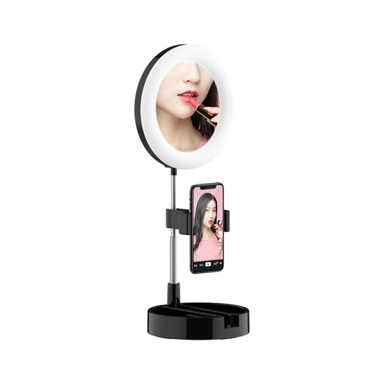 Selfie Ring Phone Holder with Mirror and Storage Box Adjustable Length/Light Selfie Phone Holder Stick