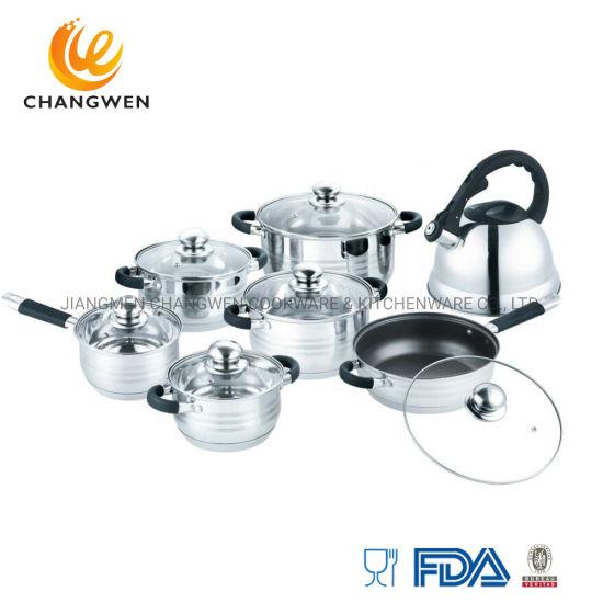 14PCS Stainless Steel Cookware Set Wholesale Non Stick Kitchen Utensil