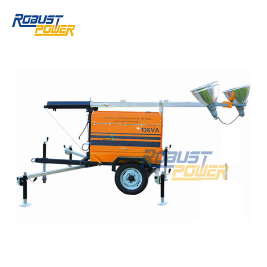3*1000W Three Phase Trailer Mounted Lighting Tower Portable Diesel Generator Mobile Light Tower Manual Folding Mast Illumination Tower 3 Phase pictures & photos