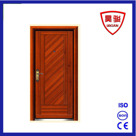 Good Price Luxury MDF Veneer Steel -Wood Armored Door pictures & photos