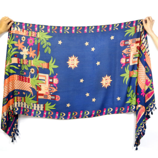 Custom Print 100 Cm Polyester Viscose Voile Woven Scarf with Tassels