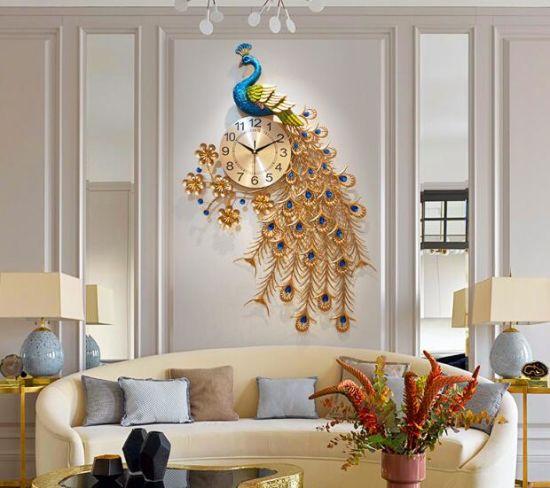China Hot Sale Beautiful Modern Peacock Wall Clock Home Living Room Decor China Wall Clock And Silent Clock Price
