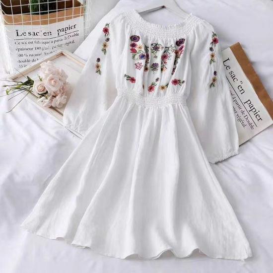 Sweet Style Cotton Half Sleeve Fashion Short Ladies Dress