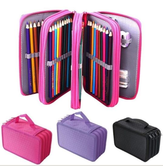 Pencil Holder Organizer 4-Layer Storage Case Pouch Bag Stationery Box