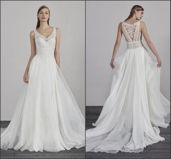 Beach Wedding Dresses Bridal Ball Gown V-neck Beading Back White Ivory Plus Size