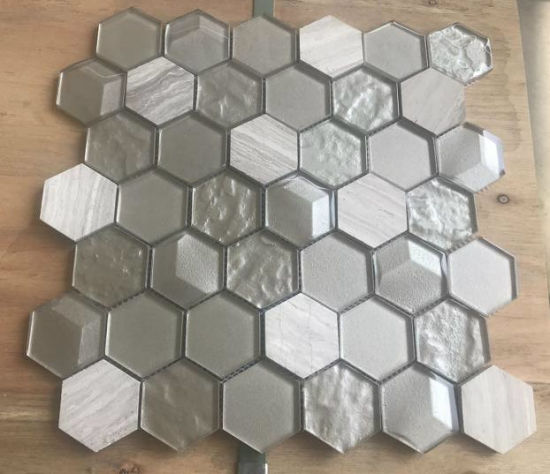 Glass Mix Stone Mosaic Tile for Kitchen and Golden Select Mosaic Wall Tile Honeycomb Tile