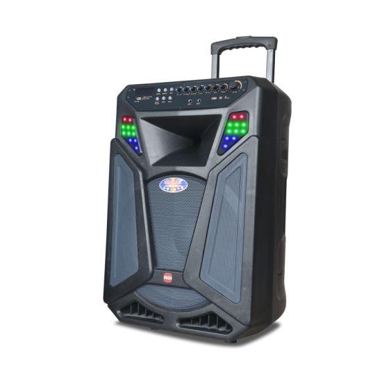 15 Inch Multimedia PRO Audio Karaoke Powered Loud USB Speaker Box Bluetooth Trolley Speaker