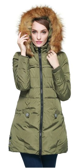 Women′s Down Jacket with Faux Fur Trim Hood Winter Coats pictures & photos