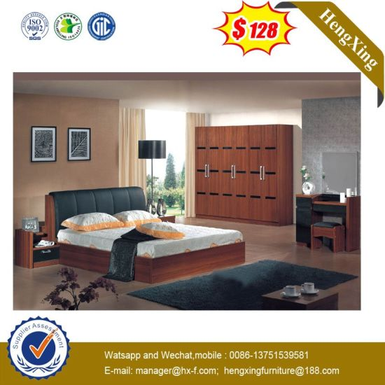 Modern Hotel Home Wooden Bedroom Living Room Furniture Double Single Children King Queen Bed (HX-L8802)