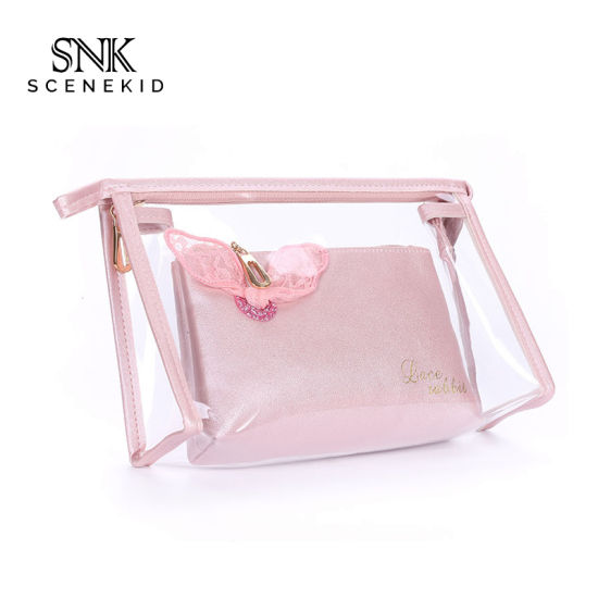 Eco Friendly New Design Blank Wholesale Portable Clear Women Washing Bag PVC Transparent Makeup Cosmetic Bag Custom for Lady pictures & photos