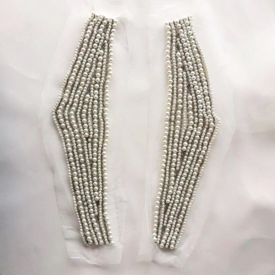 Hand-Made Pearl Beading for Collar and Trousers Decoration