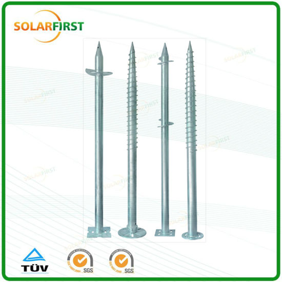 Adjustable Ground Screw Pole Anchor for Solar Mounting System