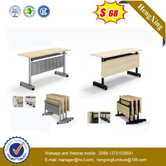 High Quality Turn Squre Curve Poster OEM Veneer Folding Table pictures & photos