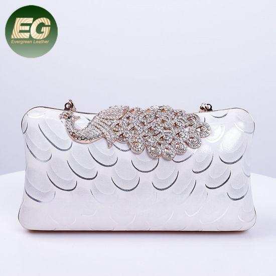 Simple Fashion Lady Handbag Small Purse Clutch Evening Bag with Peacock Pattern Eb1022