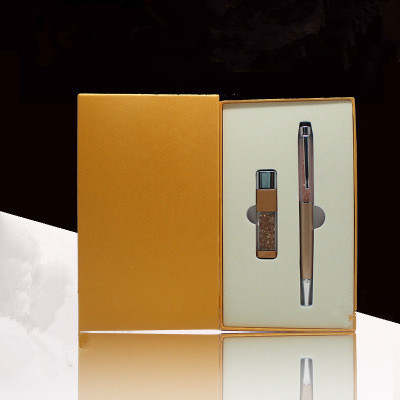 New Design Wholesale Corporate Gift Set Stationery Set Office Gift Pen and USB Flash Disk Gift Set with Box
