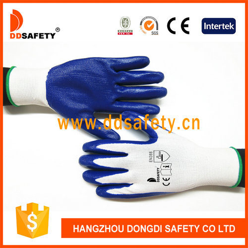 Good Quality White Nylon and Blue Nitrile Coated Labor Protection Gloves