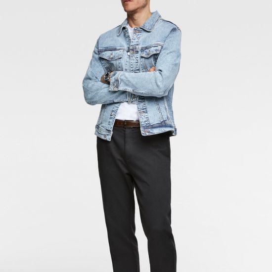 2019 Fashion Blue Mens Ripped Jean Jacket for Men