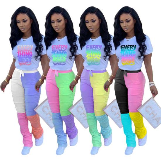 Two Piece Suit Tracksuit New Fashion Women Clothes Letter Printed Short Sleeve T Shirt Trousers Sweatsuit Jogging