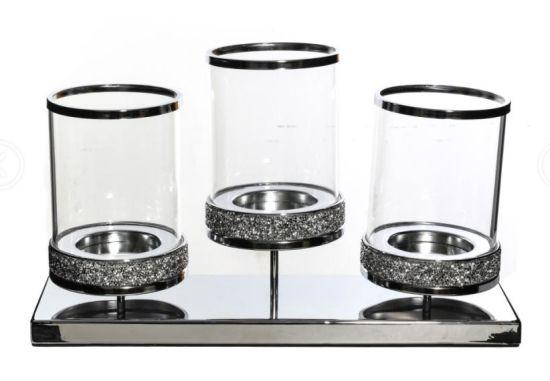 ODM Glitter 3 Sets Pillar Candle Holders