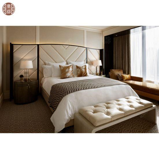 Custom Made Hotel Bedroom Furniture Set Foshan Furniture Manufacturer Upholstery Fabric Headboard