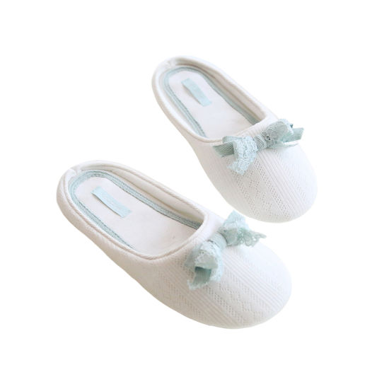 Cotton Lace Bow Office Home Slippers